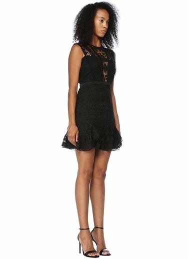 Floor Mini Kokteyl Elbise Siyah
